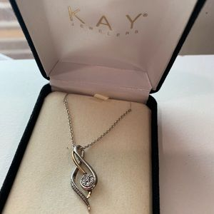 Diamond Swirl Sterling Silver Necklace with Gold